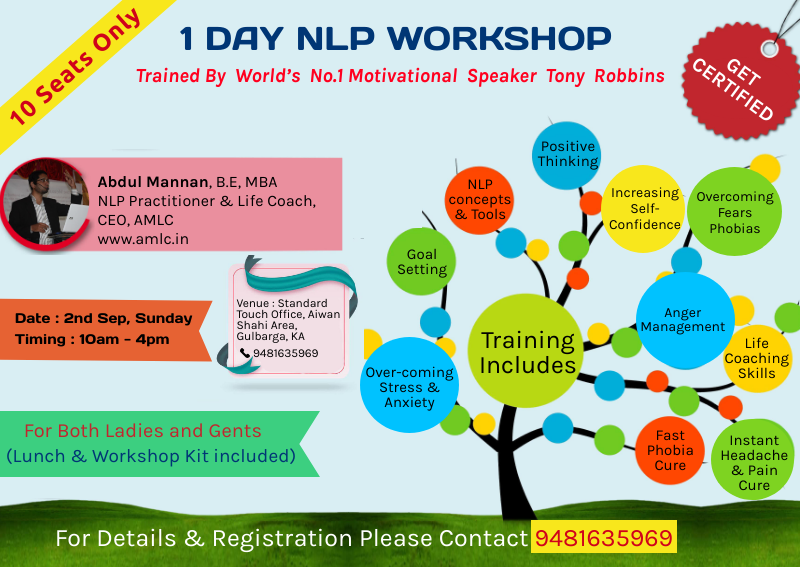 nlp, life coach courses, nlp practitioner and life coach in gulbarga, hyderabad,bangalore trained by tony robbins the world's number 1 motivational speaker tony robbins, life coach bangalore workshop hyderabad